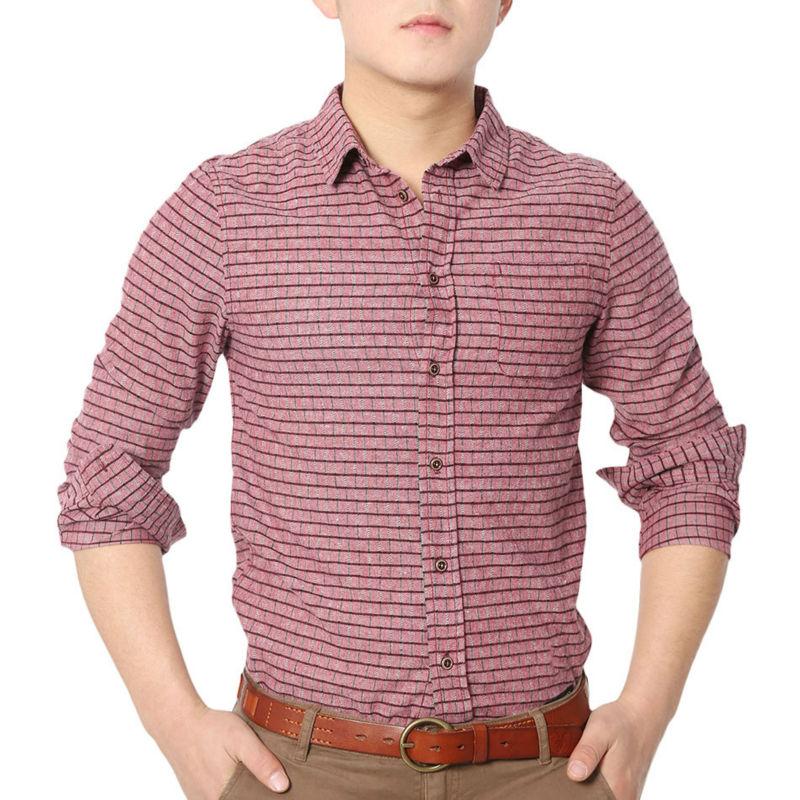 Leisure plaid check shirts men long sleeve slim shirt for Patterned dress shirts for men