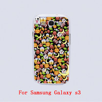 Halloween emoji Design Black skin phone cover cases For Samsung Galaxy S3 9300 /S4 /S5 /S6 /S6 Edge