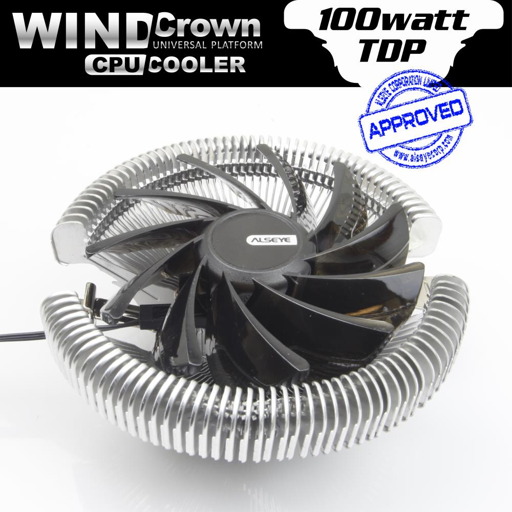 ALSEYE Wind Crown Dissipater CPU cooler cooling fan 90mm for intel LGA 775/1150/1151/1155/1156 AMD 754/939/AM2/AM2+/AM3 Radiator(China (Mainland))
