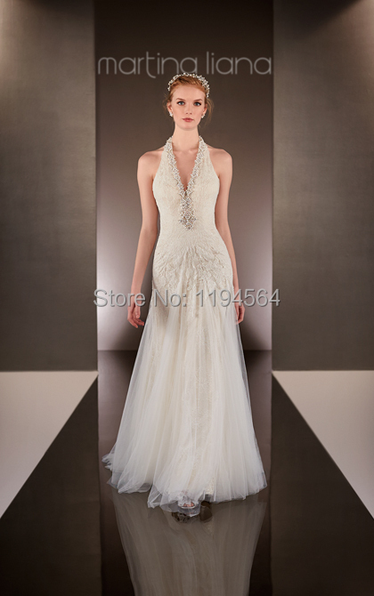Buy free shipping vintage beach style for Wedding dresses halter style