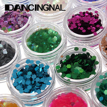 Wholesale New 18pcs Colors Acrylic Hexagon Sparkly Sequin Glitter Nail Art Tips Design Tool Decoration(China (Mainland))
