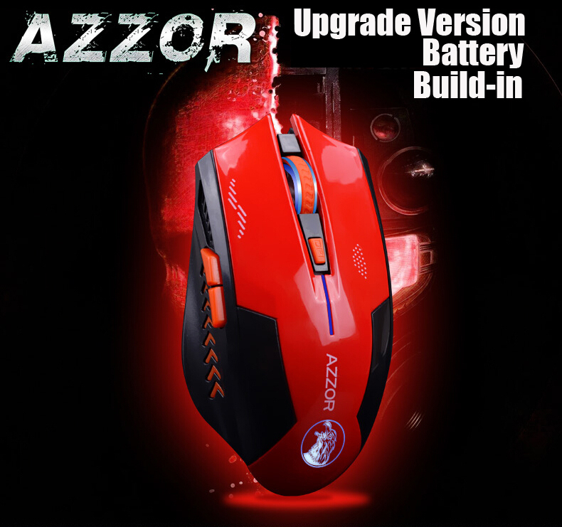 AZZOR Lithium battery build-in laser gaming wireless mouse 2400 dpi 2.4G FPS high performance gamer computer free shipping(China (Mainland))