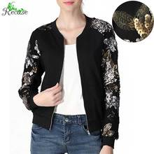 2016 Fashion Sequin Sleeves Bomber Jacket Women Plus Size Stand Collar Zip Pocket Outdoor Outwear NZ-JK-50