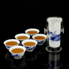 Freeshipping Ceramic kung fu tea blue and white porcelain glass tea set tea device black tea set 5 suits can be chose