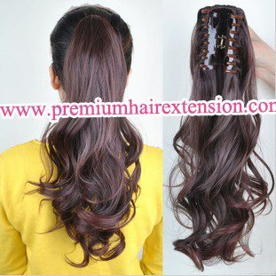 "20"" Wavy Claw Clip Ponytail Hair Extensions synthetic clip in ponytail hair piece # dark brown 4 colosr U-pick free shipping"