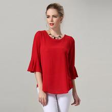 Plus Size Blouses Women Clothing Loose Chiffon Blouse Korean Fashion Blusa Feminina Summer Tops Solid Color Black Red M - 5XL(China (Mainland))