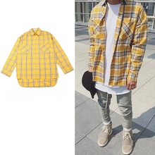 high street fog extened fancy mens dress shirts hawaiian shirt justin bieber men clothes 2016 tartan clothing yellow plaid