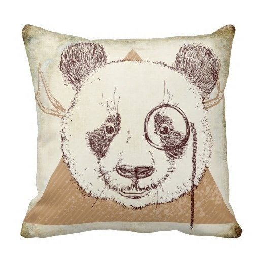 Fast Hipster Panda Bear Illustration Pillow Case (Size: 20