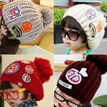 Unisex Boy Girl Kids Child Labels Hat Woolen Yarn Knitted Winter Warm Beanie Cap (China (Mainland))