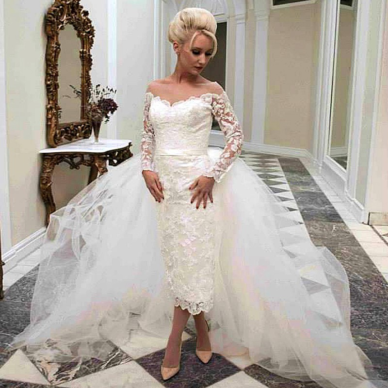 Hot sale detachable arabia bridal gowns long sleeve mid for Wedding dresses with sleeves for sale