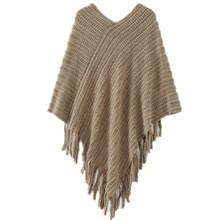 2015 Winter Women V Neck Batwing Stripes Fringed Stitching Irregular Tops Poncho Shawl Cape Sweater 3 Colors(China (Mainland))