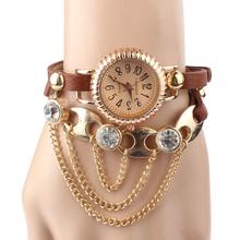 Splendid  1PC Vintage Leather Bracelet Rivet Bracelet Quartz Wrist Watch Clock Female Casual Cool Watch