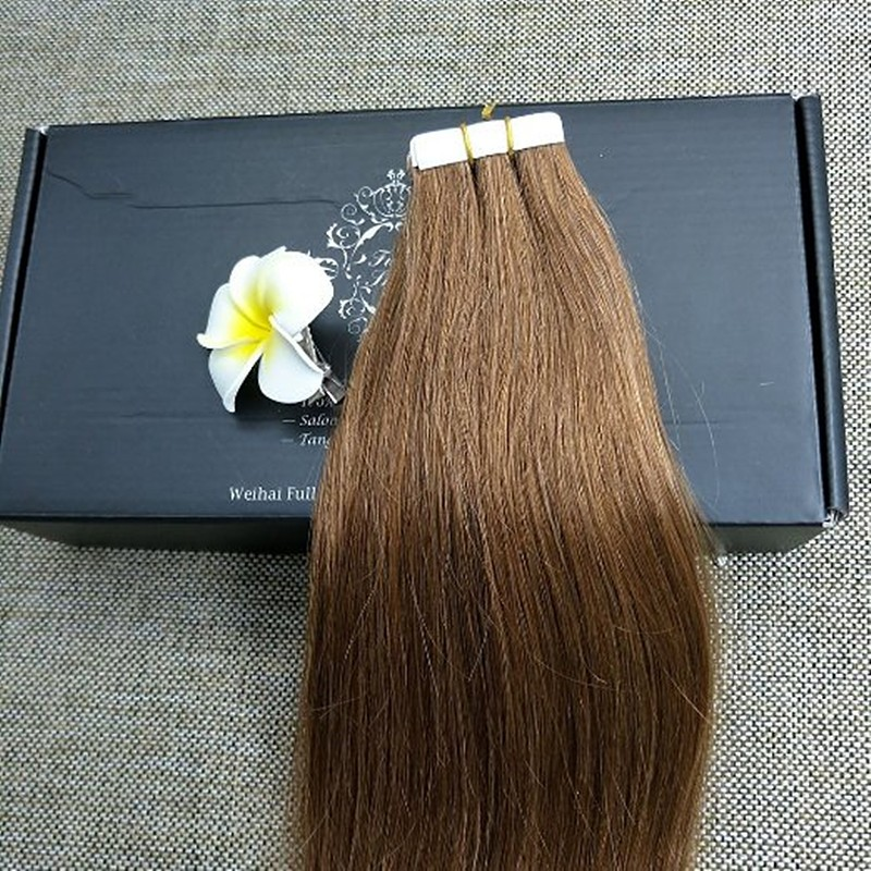 Full Shine Ash Brown Color 8 Tape on Hair Human Remy Tape Hair Extensions 14 inch to 24 inch Seamless Hair Extensions Skin Weft