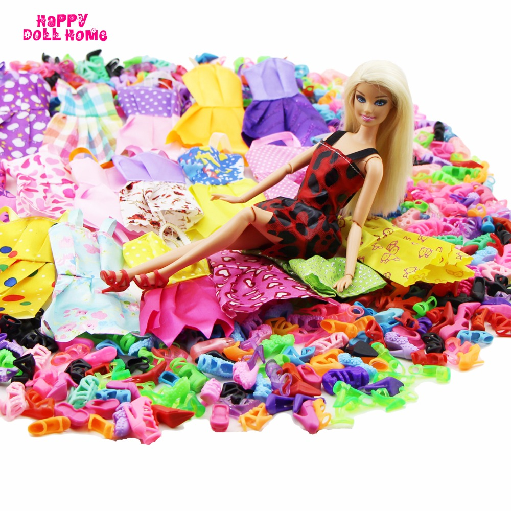 24 Pcs = 12 x Handmade Mini Costume Doll Garments Brief Skirt + 12 x Sneakers Excessive Heels Dollhouse Equipment For Barbie Doll Child Toy