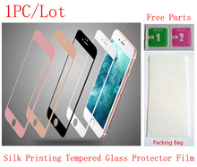 (06G47118)(1PC/Lot by AM)Color Silk Printing Front Tempered Glass Protector Protective Film for iPhone 6&6S(4.7) Screen