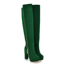 ARMARIO Caliente Elegante Negro Verde Del Ejército de Las Mujeres Sobre La Rodilla Del Muslo de Alta botas para la nieve Botas Zapatos de Las Señoras AI116 Tacones Altos Más El tamaño Grande 10 43(China (Mainland))
