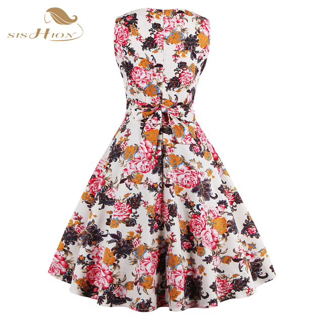 S-4XL Plus Size Women Dress Summer Floral Print Retro Casual Party Robe Pinup Rockabilly 50s Vintage Dresses