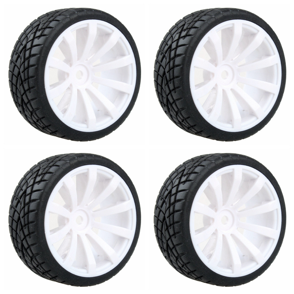 10- Spoke Plastic Wheel Rim & Soft Tires Tyre White for RC 1:10 On Road Car Pack of 4(China (Mainland))