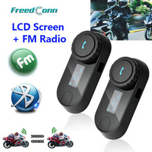 2016 nueva Version actualizada! 2 unids BT Bluetooth casco de la motocicleta del intercomunicador del Interphone auricular con pantalla LCD + Radio FM(China (Mainland))