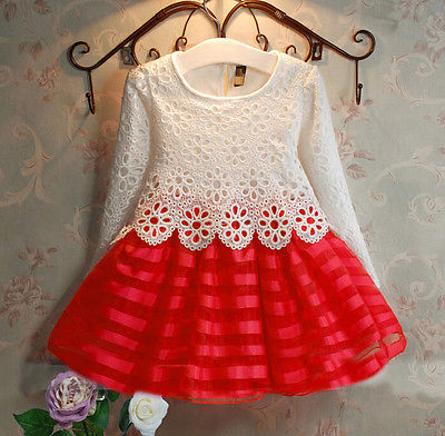 Girls Autumn Winter Dresses Baby Girls Children Cute Crochet Lace Long Sleeve Dress 3 colors Girl Dress(China (Mainland))