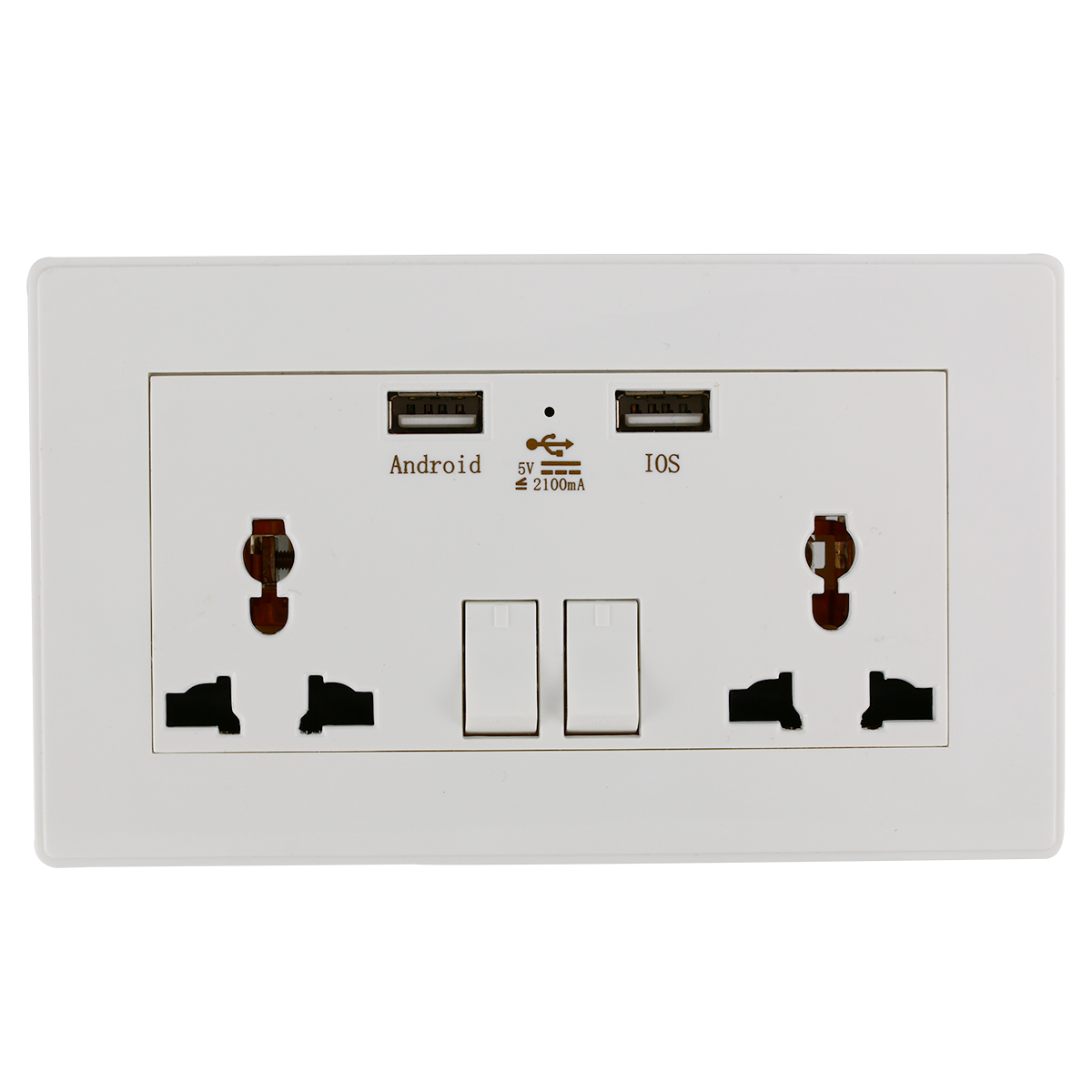 Universal Wall Socket Dual 2 USB Plug Switch Power Supply Plate 2100mA Charger Electric Socket Outlet