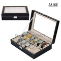 Free Shipping Lateral Lock 12 Grids Brand Watches Box Black Brand Watch Display Box With Key