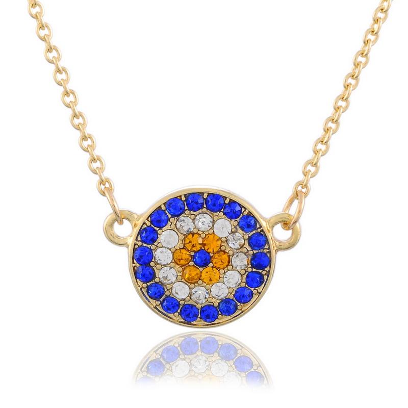 1PC Gold Plated Rhinestone Evil Eye Chain Necklace Fashion Jewelry 45.5cm(China (Mainland))