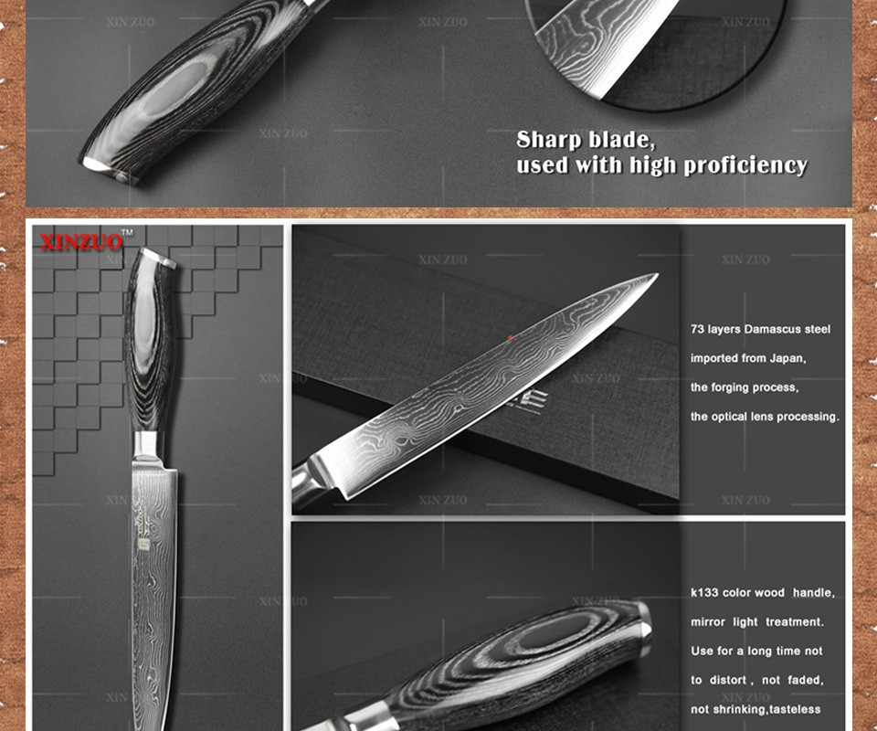 "Buy XINZUO 8"" inch cleaver knife 73 layers Japan Damascus kitchen knife meat Sashimi chef knife with Color wood handle free shipping cheap"
