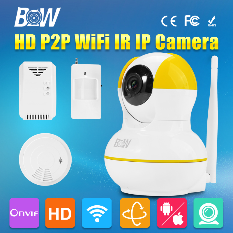 Pan Tilt HD 720P Wireless Wifi IP Dome Camera P2P IR Cut Filter Megapixel Lens Video CCTV + Motion Sensor + Gas & Smoke Detector(China (Mainland))