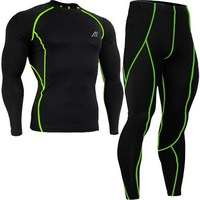 Mens Compression Shirts Set Fashion Sportswear Running Fitness Skin Tight Base Layer Leggings XS-4XL