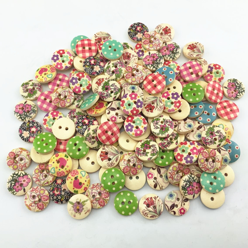 buttons 15mm vintage color Flower world Painting Cute wooden buttons bulk wood button mixed for crafts(China (Mainland))