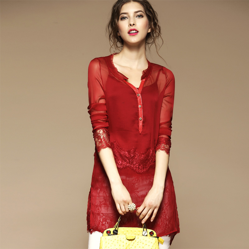 Pure SILK Blouse Women 2015 Summer Style Blusas Femininas Fashion Long-Sleeve Lace BRAND Blouses Plus Size Shirt Tops S-2XL(China (Mainland))