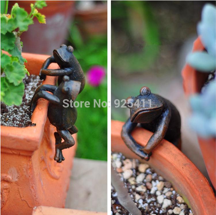 Jardim animais resina decoração sapo ornamentos de jardim gadget figura jardim vasos de flores decoração famílias novidade(China (Mainland))