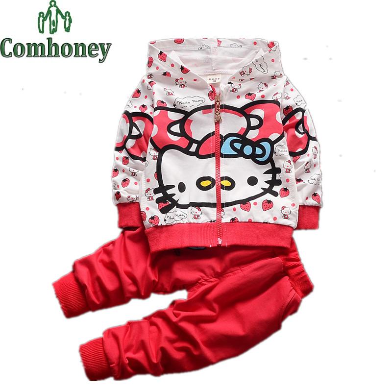 Hello kitty Girls Clothing Set 2 PCS Cartoon Girls Hoodies+Harem Pants Bowknot Butterfly Bow Girls Sports Suit Kids Clothing Set(China (Mainland))