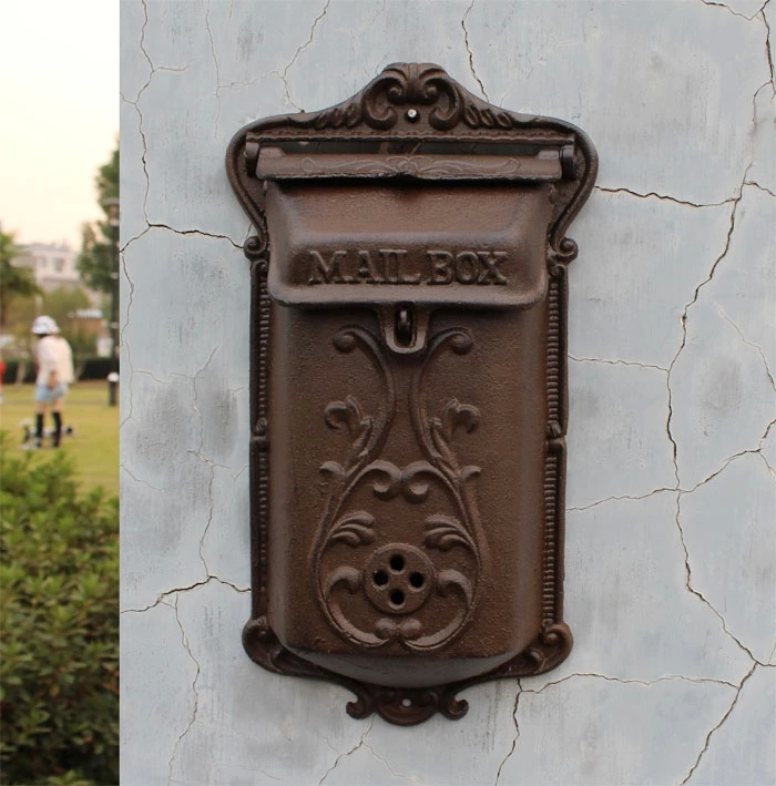 Antique Wall Mount Cast Iron Mailbox Embossed Trim Decor Metal Mail Letters Post Box Yard Patio(China (Mainland))