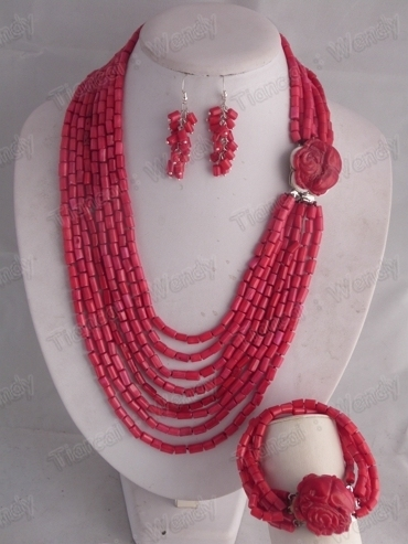 Best Hotsale! FCJS003 Ladies' Fashion Coral Jewelry Set Necklace Bracelet Earring Set For African Wedding Bridal