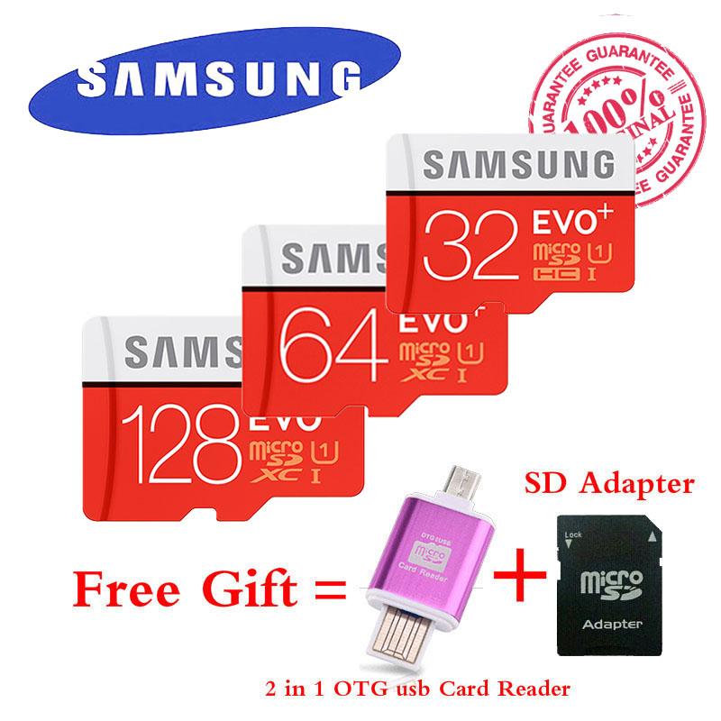 Samsung EVO+ 80MB/s Memory card 32GB 64GB 128GB class10 flash tf card micro sd card free 2 in 1 OTG Micro usb Card Reader(China (Mainland))