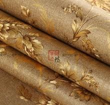 Chinese Vintage Floral Wallpaper Gold Waterproof 3D Wallpaper Roll Embossing Desktop Wallpaper For Walls 3D Papel De Parede Roll(China (Mainland))