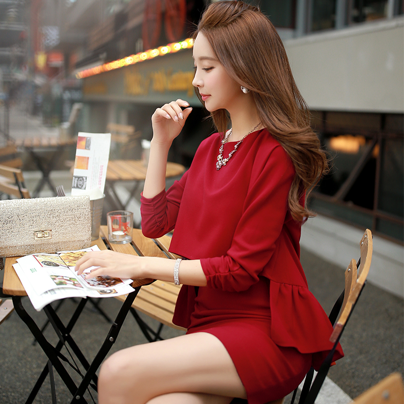 Dabuwawa winter thickened woven false two pieces ruffles dressОдежда и ак�е��уары<br><br><br>Aliexpress