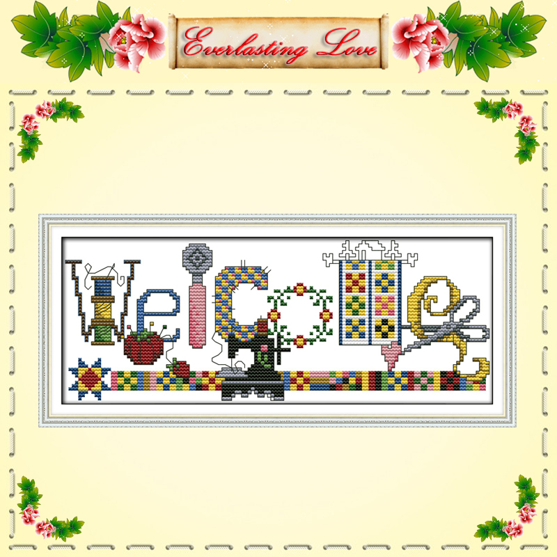 Sewing machine welcome card coffee cartoon painting DMC 11CT pattern print on fabric Cross Stitch kits needlework embroidery Set(China (Mainland))