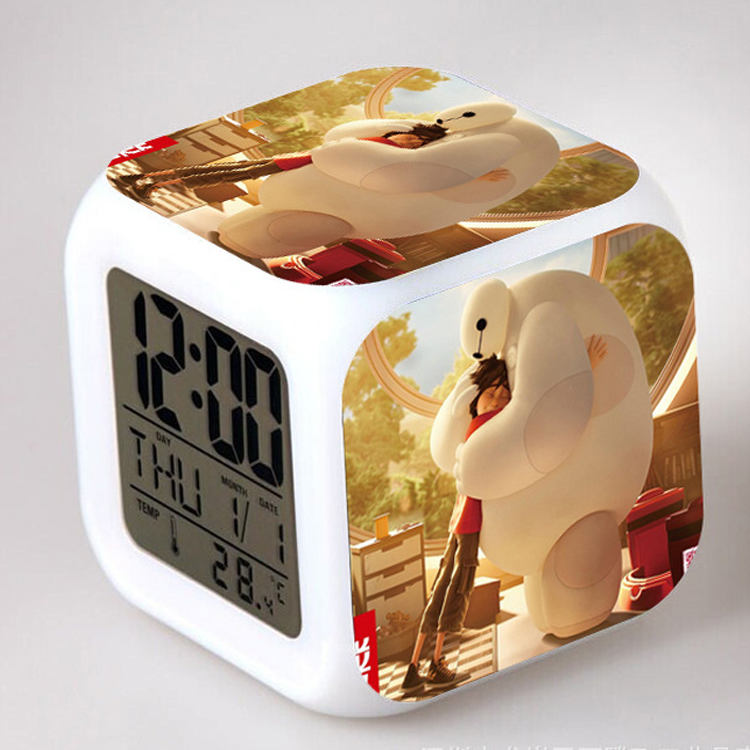 Free shipping Big hero 6 LED 7 Colors Change Digital Alarm Clock Thermometer Night Colorful Glowing toy Kids toys alarm clock(China (Mainland))