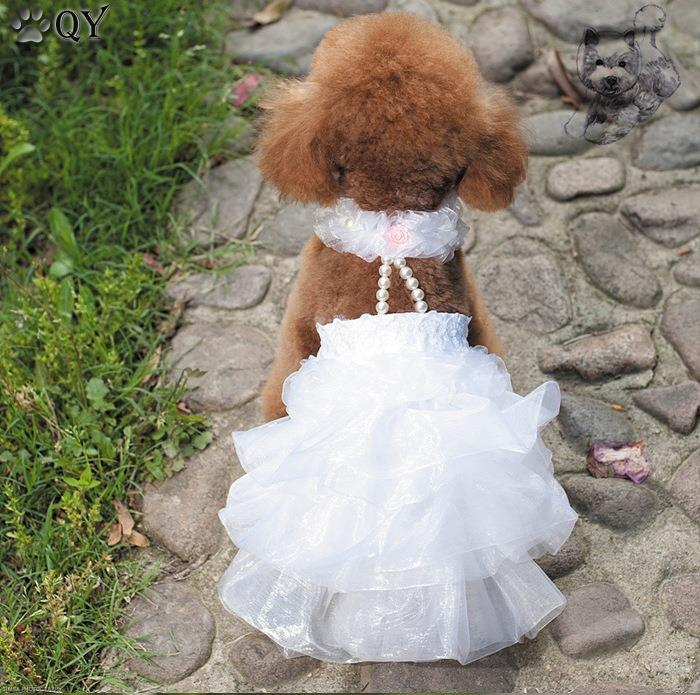 QY Dress for Dogs Clothes For Dogs Clothing Puppy Pet Apparel Lace Flower Princess Beading White Pink Dog Wedding Dress XS-XL(China (Mainland))