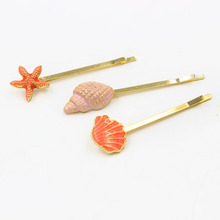 Timeless Wonder Chic Cute conch shell star fish Hair Pins Set Hairwear Hair Jewelry date sassy pop hot sale blue pink cheap 7848(China (Mainland))