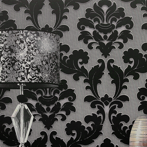 classic home decor background wallpaper damask wall black floral  wallcovering 3d velvet wallpaper living room. wallpaper colors Picture   More Detailed Picture about classic