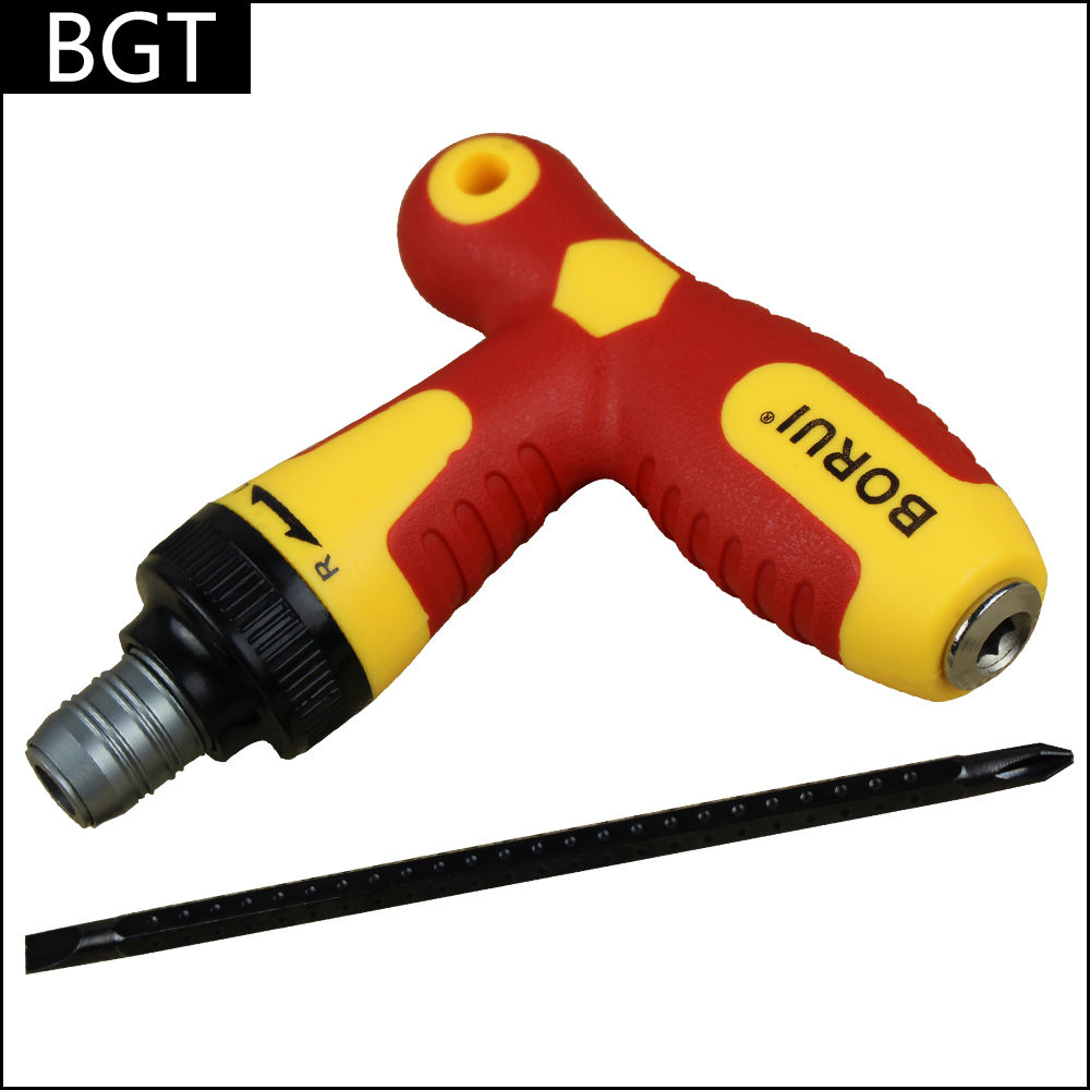 Automatic Flexible Screwdriver T Type Slotted & Phillips Screwdriver With CR-V Iron Bar & PP Handle(China (Mainland))