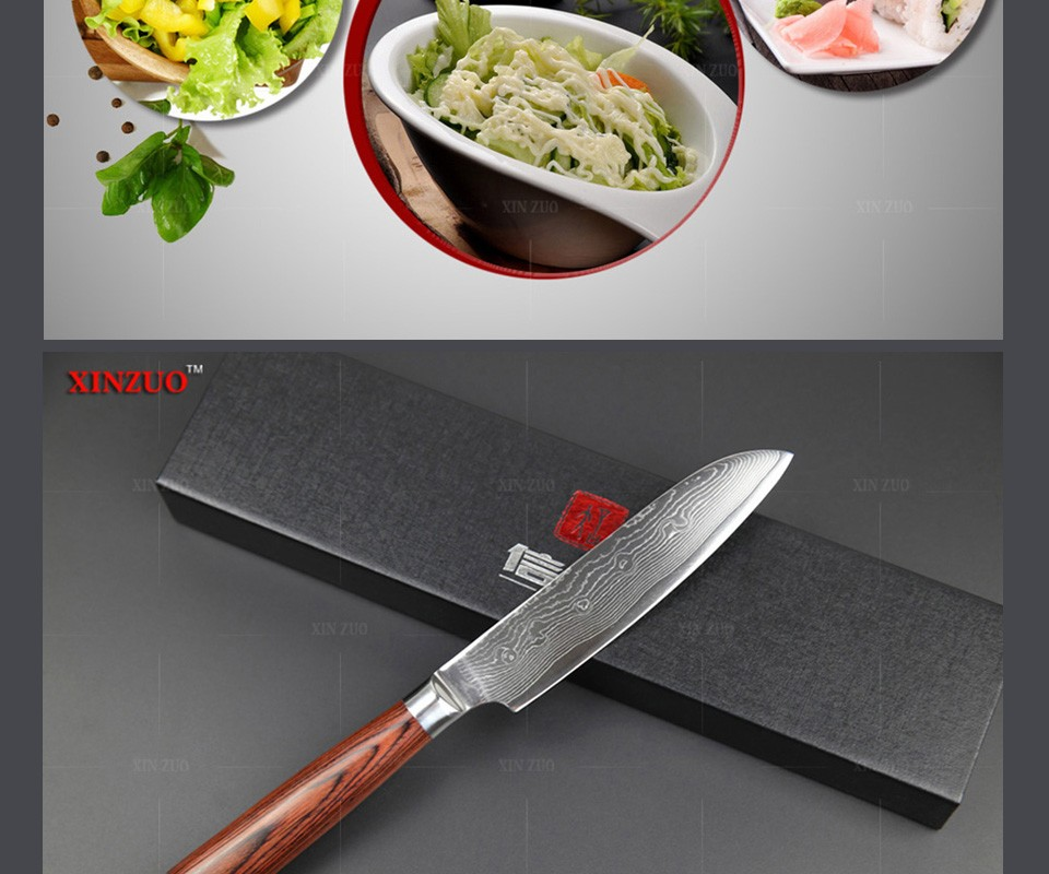 "Buy 2016 HOT 5"" santoku knives Japanese VG10 Damascus steel chef knife kitchen knife fruit knife color wood handle FREE SHIIPPING cheap"