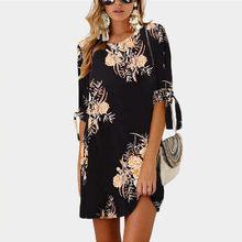 Женское платье 2019 летнее сексуальное шифоновое платье с цветочным принтом бохо стиль Короткие вечерние Пляжные Платья Туника плюс размер(China)