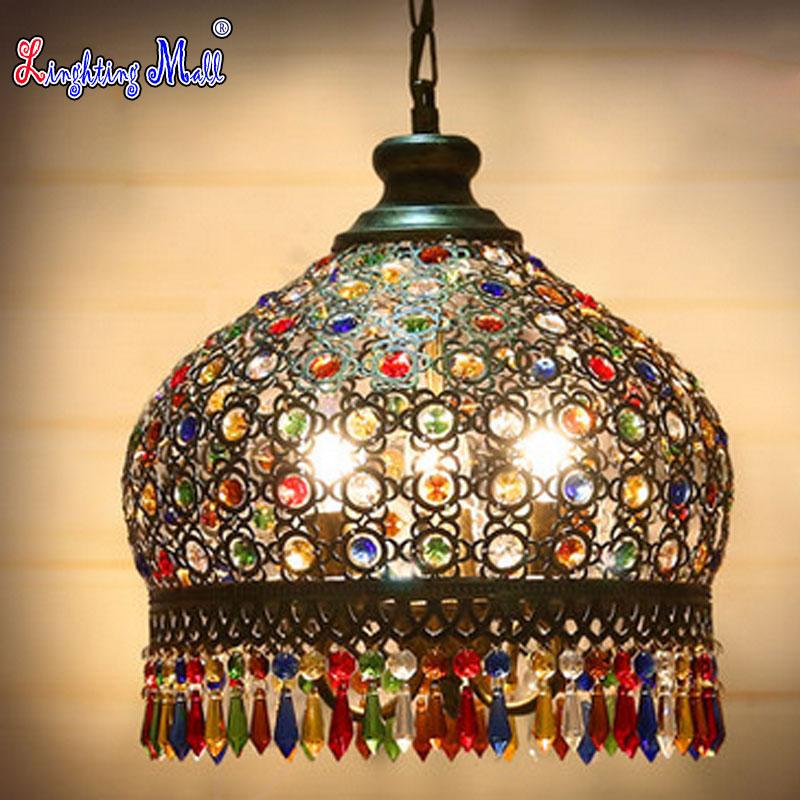 Фотография W LED Bohemia Vintage Iron Pendant Lamp Circular Colorful lamp Decoration for Bedroom &Dining room
