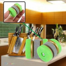 2016 New Portable Grinding Circle Kitchen Stone Abrader Two Wheels Knife Sharpener(China (Mainland))