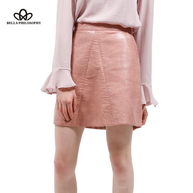 2016 осень зима новое качество марка дизайн PU искусственной кожи женщин юбка розовый желтый черный назад молния